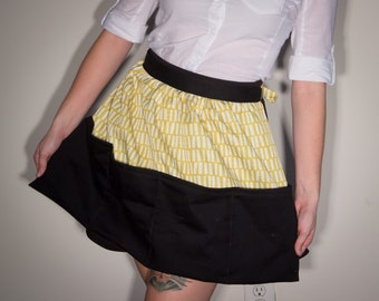 Black and Yellow Half Apron with Pockets