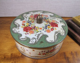 Vintage Round Metal Floral Tin - Made in England