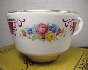 Vintage Teacup - Dark Red Band and Floral Pattern