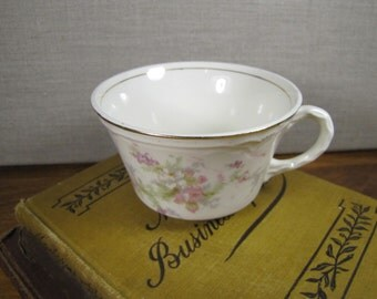 Vintage Teacup - Pale Pink Flowers and Green Leaves