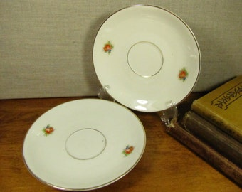 Vintage Saucers - Red Flowers - Gold Accent Rim - Set of Two (2)