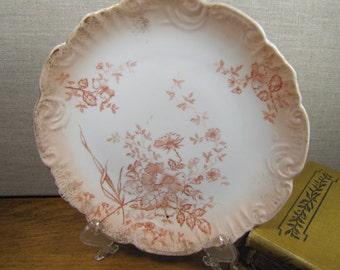 Vintage Hand Painted Salad Plate - Orange Floral Pattern - Munich, Germany