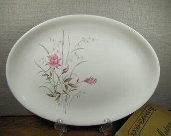 Vintage Retro Platter - Pink Rose - Green and Brown Leaves