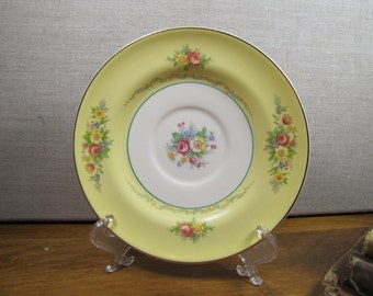 Vintage Yellow Rim Saucer - Red and Yellow Flowers