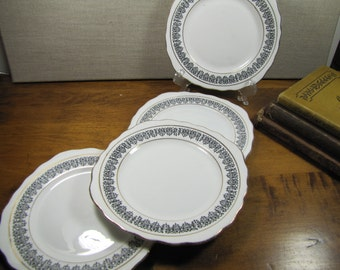 Vintage Royal Vale Bone China Bread and Butter Plates - Black and White - Gold Accent - Set of Four (4)