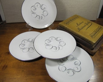 Vintage Style House Fine China - Rhythm Pattern - Bread and Butter Plates - Set of Four (4)