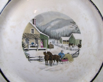 Vintage Currier & Ives Platter - Homestead in Winter With Horses and Sleigh