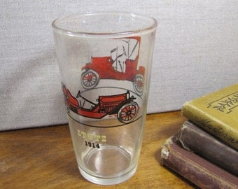 Anchor Hocking - Antique Car Drinking Glass - Stutz 1914 and Hudson 1910