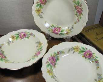 Vintage Homer Laughlin Coupe Soup Bowls - Gold Accent Rim - Pink, Yellow and Blue Flowers -