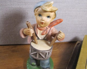 Porcelain Figurine - Little Boy Playing Drum