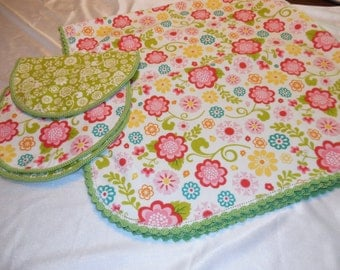 Handmade Recieving Blanket & 2 Burp Cloths