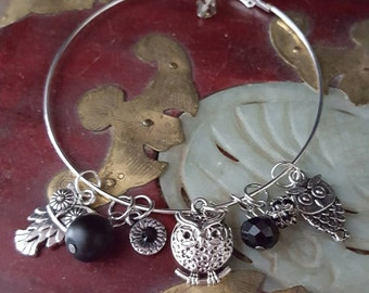 Owl Charm Bangle Bracelet, Owl Charm Bangle Bracelet, Owl Charm Bracelet, Silver Owl Bracelet, Owl Jewelry, Charm Bracelet, Bangle Bracelet