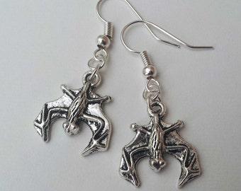 Hanging Bat Earrings , Halloween Earrings , Silver Earrings , Halloween Jewelry , Goth Jewelry , Silver Earrings , Handmade Jewelry , Punk
