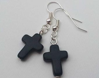 Black Agate Cross Earrings , Howlite Earrings , Agate Earrings , Black Earrings , Black Cross Earrings , Handmade Jewelry , Gothic , Gift