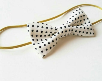Black & White Polka-dot Bow Headband