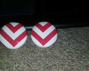 Red & White Button Earrings