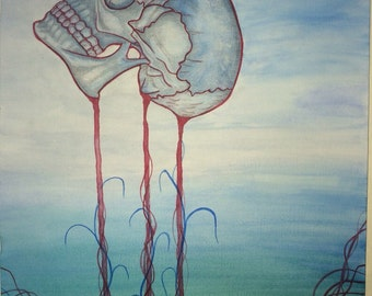 Watercolour skull painting