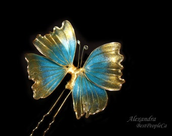 Blue Gold Butterfly Hair Pin Transparent Wedding Accessories Japanese Kanzashi OOAK