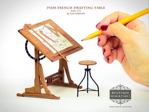 Miniature 1920s French Drafting Drawing easel adjustable Table and Rotating stool, dollhouse furniture, Library, Study room artisan igma
