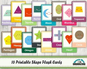 Printable Shape Flash Cards - Educational Printables - Home School Printables - Teaching Materials - Primary School Printables