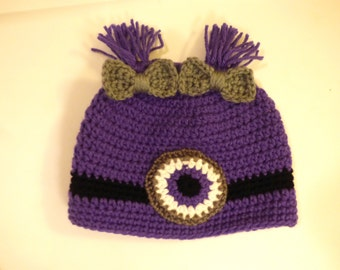 Crocheted Purple Minion Hat
