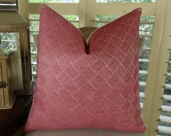 Designer Decorative Throw Pillow - Chic Zig Zag Jaggered Chevron Throw Pillow - Pink Fuchsia Pillow Cover - Modern Couch Pillow - 11274