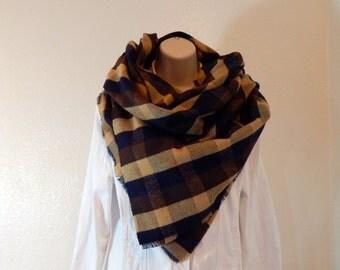 Blanket Scarf, Camel, Brown and Navy Blanket Scarf, Oversized Wrap Scarf, Scarf Shawl ~ Camel, Brown and Navy
