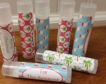 Beach Tropical Christmas Classroom Treats! Personalized Lip Balms All Natural 5 Flavors