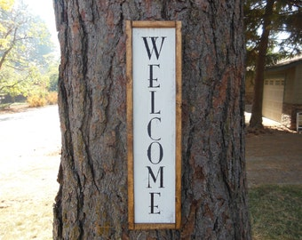 "Joyful Island Creations ""Welcome"" wood sign, vertical welcome sign, entry way sign, entry way decor, outdoor welcome sign, reclaimed wood"