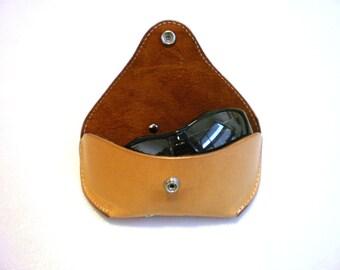 Glasses case for Big frame Sunglasses case veg tan leather Handmade by Celyfos®