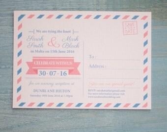 Airmail Postcard Wedding Invitation _ Travel