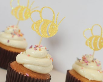 Bumblebee Cupcake Toppers Bride To Bee Decor Bumblebee Decor Mommy To Bee Decor