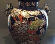 Vintage Japanese Peacock And Floral Motif Cobalt Blue Vase / Urn (FREE SHIPPING)
