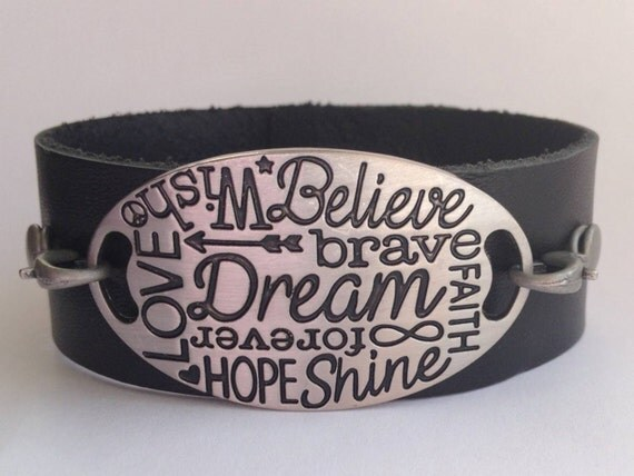 leather quote bracelet inspirational cuff dream believe hope