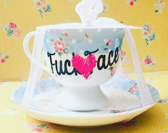 Teacup Personalized Favorite Curse Word ****Heart will not be on final product.  It's placed in photo for profanity issues****