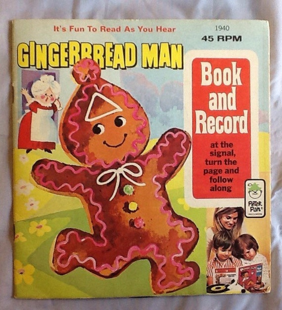 Gingerbread Man Book and Vintage Vinyl Record 1960's