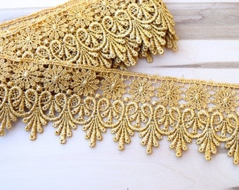 "Raven Gold Metallic Venice Lace Flower Groundwork Costumes, Gowns and Home Decor 3"" by 1 Yard"