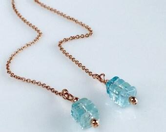 Aquamarine Earrings, Rose Gold Threader Earrings, Rose Gold Ear Chains, Rose Gold Long Aquamarine Earrings, March Birthstone Earrings