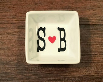 Married Initial Heart Ring Dish