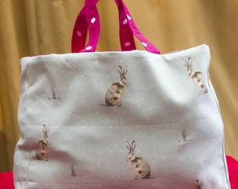 Reversable Shopping bag featuring Hartley hare