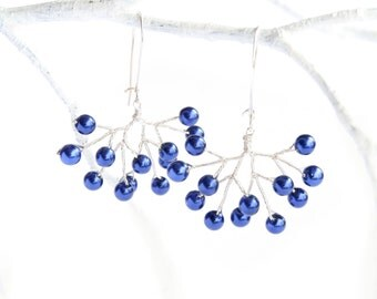 Blueberry Cluster Earrings with Dark Blue Beads - Unique Handmade Jewelry - Bilberry