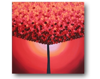 "Tree Painting, Whimsical Art, Red Tree, Tree Wall Art, Lollipop Tree, Original Painting, ""Red Lollipop"" 24x24"" by SFBFineArt"