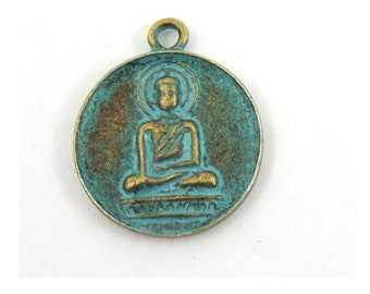 Buddha Charm - Antique Bronze Green Pendant - Buddha Medallion - Jewelry Supplies