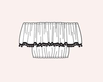 Bardot Top - Off Shoulder Crop Top with Pom Pom Trim