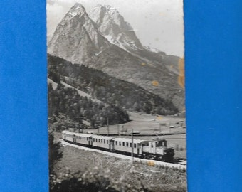 Railroad Train Garmisch-Partenkirchen 1956 Postcard