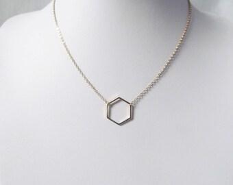 gold hexagon necklace geometric minimalist jewelry