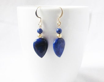 lapis lazuli earrings gold drop lapis earrings cobalt blue and gold earrings  gemstone earrings