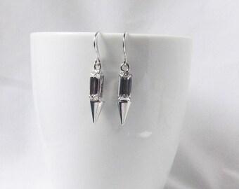 silver spike earrings punk earrings