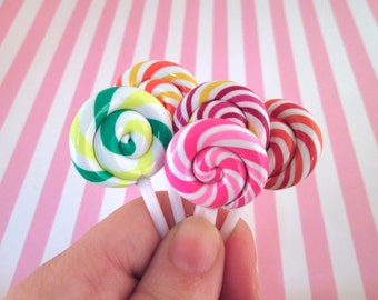 5 Polymer Clay Lollipop Cabochons Fake Candy, #209