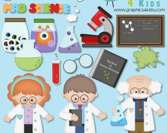 Scientist Digital Clipart - Clip art for scrapbooking, party invitations - Instant Download Clipart Commercial Use